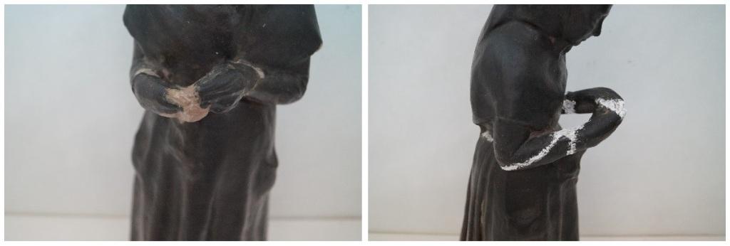 Procés de reintegració de la peça de Gustau Violet al seu suport / Museus de Sitges
