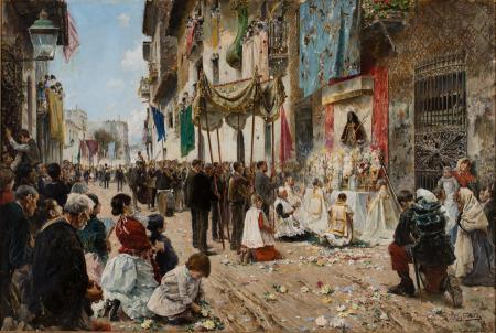 """""""La processó de Corpus"""", d'Arcadi Mas i Fondevila (1887) / Museus de Sitges"""